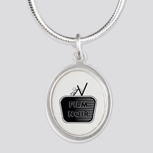 Film Noir Silver Oval Necklace