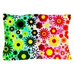 Red Green Flowers Pattern Pillow Case