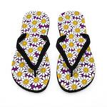 Purple Smiley Daisy Flower Pattern Flip Flops