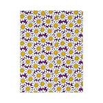 Purple Smiley Daisy Flower Pattern Twin Duvet
