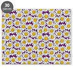 Purple Smiley Daisy Flower Pattern Puzzle