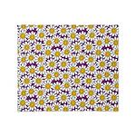 Purple Smiley Daisy Flower Pattern Throw Blanket