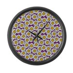 Purple Smiley Daisy Flower Pattern Large Wall Cloc