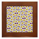Purple Smiley Daisy Flower Pattern Framed Tile