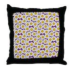 Purple Smiley Daisy Flower Pattern Throw Pillow