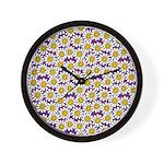 Purple Smiley Daisy Flower Pattern Wall Clock