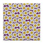 Purple Smiley Daisy Flower Pattern Tile Coaster
