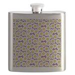 Purple Smiley Daisy Flower Pattern Flask