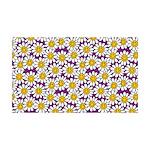 Purple Smiley Daisy Flower Pattern Wall Decal