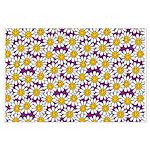 Purple Smiley Daisy Flower Pattern Posters