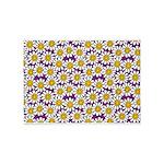 Purple Smiley Daisy Flower Pattern 5'x7'Area Rug