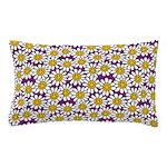 Purple Smiley Daisy Flower Pattern Pillow Case
