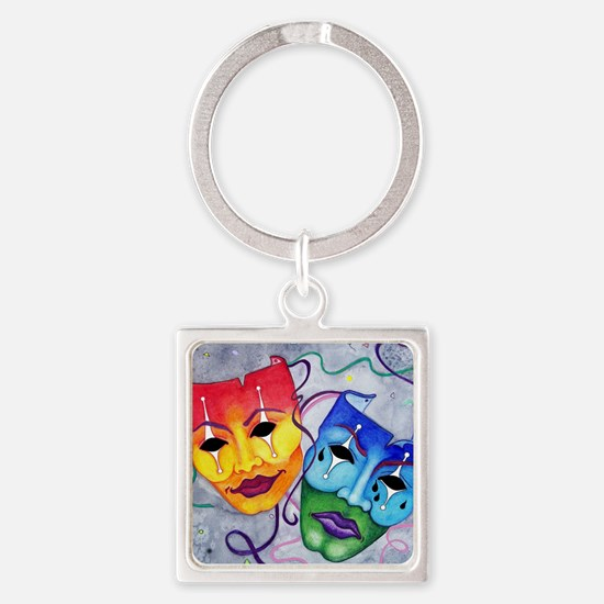 Comedy and Tragedy  Square Keychain