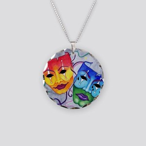 Comedy and Tragedy  Necklace Circle Charm