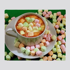 Hot cocoa with marshmallows Throw Blanket