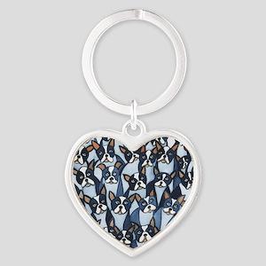 Many Boston Terriers Heart Keychain