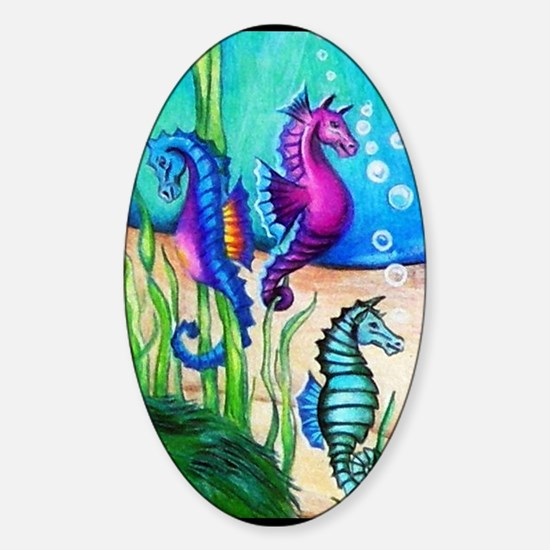 Three Water Horses Sticker (Oval)