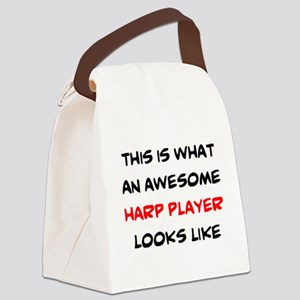 awesome harp player Canvas Lunch Bag