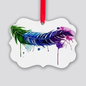 Watercolor Feather Picture Ornament