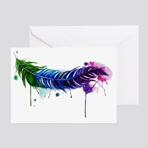 Watercolor Feather Greeting Card