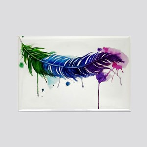 Watercolor Feather Rectangle Magnet
