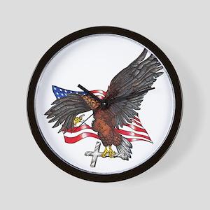 USA Eagle with Cross Wall Clock