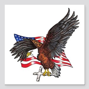 "USA Eagle with Cross Square Car Magnet 3"" x 3"""