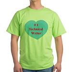 #1 Technical Writer Green T-Shirt