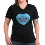 #1 Technical Writer Women's V-Neck Dark T-Shirt