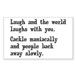 Laugh, Cackle Maniacally Funny Sticker (Rectangle