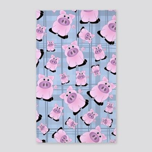 Country Pigs on Pastel Blue Plaid 3'x5' Area Rug