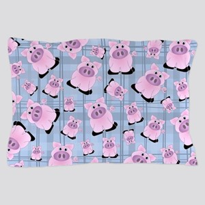 Country Pigs on Pastel Blue Plaid Pillow Case