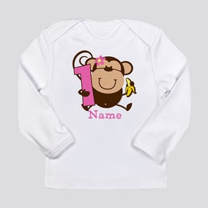 Personalized Monkey Girl 1st Birthday Long Sleeve