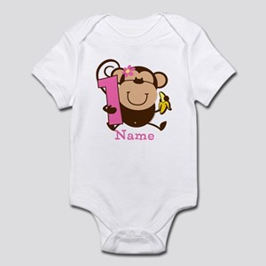 Personalized Monkey Girl 1st Birthday Infant Bodys