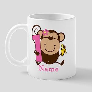 Personalized Monkey Girl 1st Birthday Mug