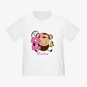 Personalized Monkey Girl 2nd Birthday Toddler T-Sh