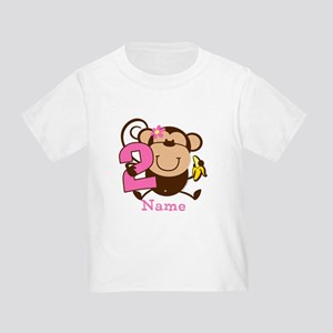 Personalized Monkey Girl 2nd Birthday Toddler T-Sh