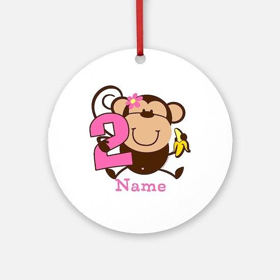 Personalized Monkey Girl 2nd Birthday Ornament (Ro