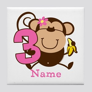 Personalized Monkey Girl 3rd Birthday Tile Coaster