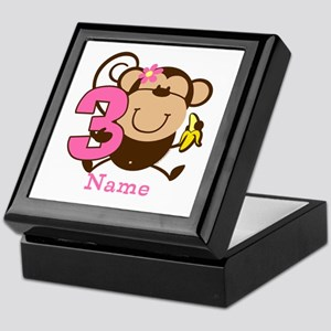 Personalized Monkey Girl 3rd Birthday Keepsake Box
