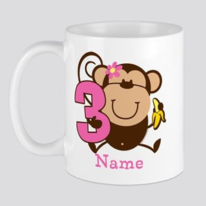 Personalized Monkey Girl 3rd Birthday Mug