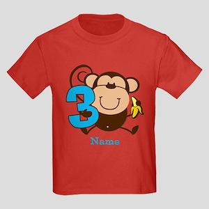 Personalized Monkey Boy 3rd Birthday Kids Dark T-S