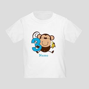 Personalized Monkey Boy 3rd Birthday Toddler T-Shi