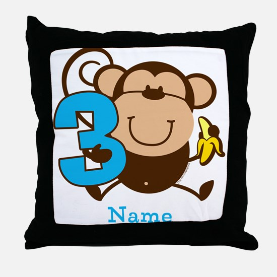Personalized Monkey Boy 3rd Birthday Throw Pillow