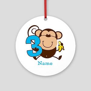 Personalized Monkey Boy 3rd Birthday Ornament (Rou