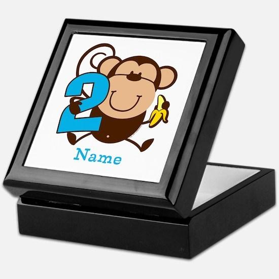Personalized Monkey Boy 2nd Birthday Keepsake Box