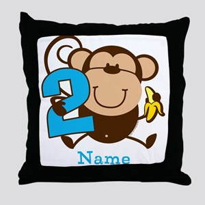 Personalized Monkey Boy 2nd Birthday Throw Pillow