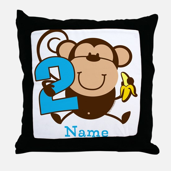 Personalized Monkey Boy 2nd Birthday Throw Pillow