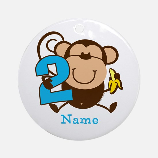 Personalized Monkey Boy 2nd Birthday Ornament (Rou