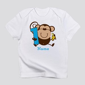 Personalized Monkey Boy 1st Birthday Infant T-Shir
